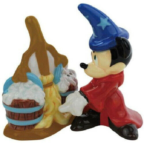 Fantasia Mickey Mouse with Broom Ceramic Salt and Pepper Shakers Set NEW UNUSED