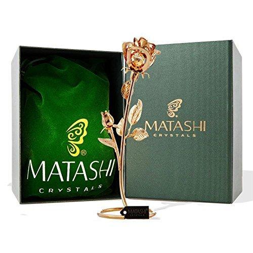 "Matashi CT3185 Everlasting 7.5"" 24K Gold Plated Long Stem Rose Flower with Premi"