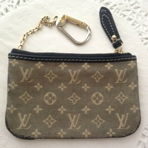 Authentic Louis Vuitton Mini Lin Brownish Mono Coin-Key Case 5in x3.5in ... - $161.45