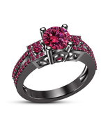 Christmas Offer Womens Pink Sapphire Engagement Ring 14k Black Finish 92... - $74.99