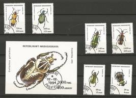 Set of Stamps depicting Beetles, Madagascar ( Madagasikara ) CTO 1994 - $3.50