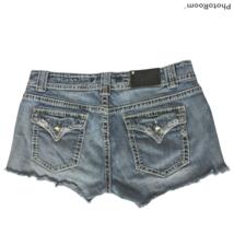 Vigoss Womens Fit Denim Booty Shorts Size 9/10 Button Flap Pockets Rhine... - $28.71