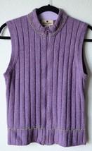 Woolrich Small Wool Blend Purple Sleeveless Sweater Zip Front Mock Neck - $498,01 MXN