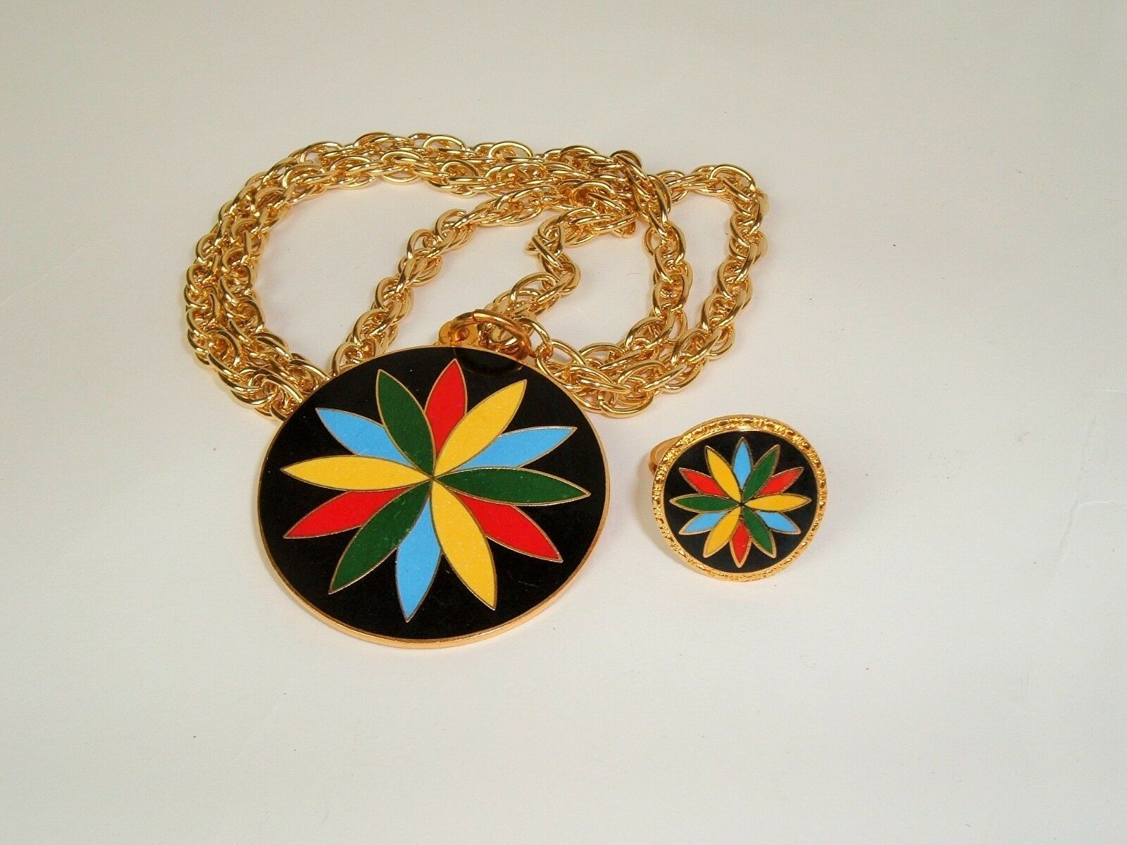 Vintage Hex by Hoffman PA Dutch Necklace and matching ring set Statement boho