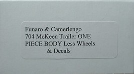 Funaro & Camerlengo HO Mckeen passenger Trailer, ONE PIECE BODY,  kit 704 image 3