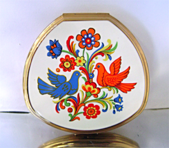 Vintage Stratton Enamel Blue Red Birds Flowers Convertible Compact NOS - $40.00