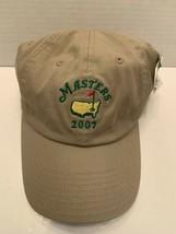2007 MASTERS golf Embroidered Baseball Cap metal Strapback Tan Khaki cot... - €23,07 EUR