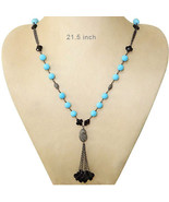 Gemstone Turquoise/Onyx Bead Sterling Silver Necklace Pave 2.4ct Diamond... - $620.54