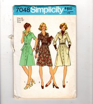 1975 Simplicity Safari Collared Pockets Dress Sewing Pattern 16 38 Bust - $10.40