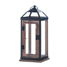 Candle Holder Lantern, Wooden Trim Contemporary Candle Lantern Outdoor - $37.49
