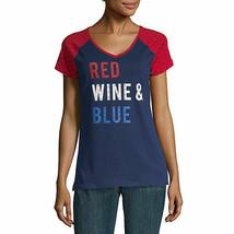Nwt $22 St. John's Bay Red Wine & Blue Cotton Blend Top Medium - $17.81
