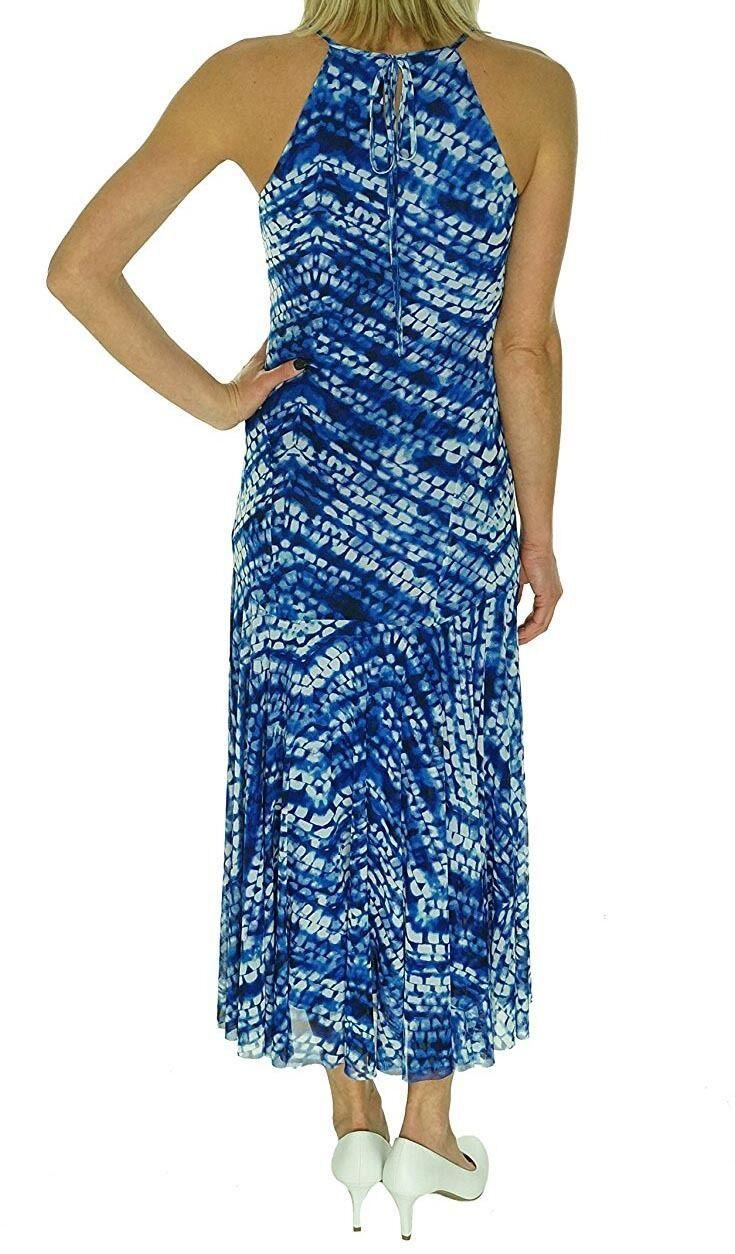 [2636-1]Nine West Women's Print Mesh Maxi sleeveless Dress Blue 10 MSRP $89