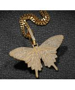 18k Yellow Gold Over 5.00 Ct Round Cut Diamond Hip Hop Butterfly Charm P... - $379.39