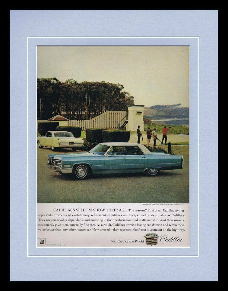 Primary image for ORIGINAL Vintage 1966 Cadillac Sedan De Ville 11x14 Framed Advertisement
