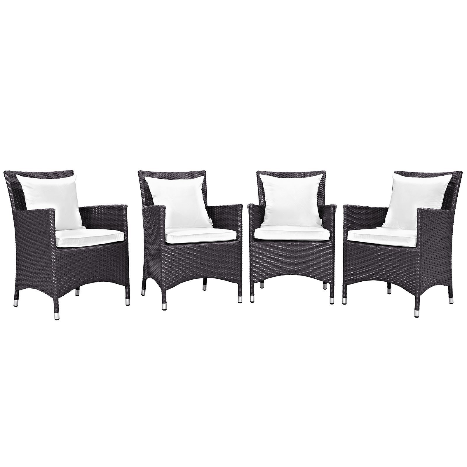 Convene 4 Piece Outdoor Patio Dining Set Espresso White EEI-2190-EXP-WHI-SET