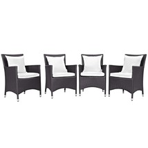 Convene 4 Piece Outdoor Patio Dining Set Espresso White EEI-2190-EXP-WHI... - $686.75