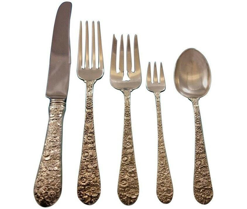 Primary image for Bridal Bouquet by Alvin Sterling Silver Flatware Set for 8 Service 50 pieces