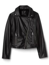 GAP Kids Faux Leather Moto Biker Jacket Black Fur Lined Warm XS 4 5 NWT $78 - $49.48