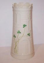 "Stunning Belleek Ireland Fine Parian China Shamrocks Castle 7 3/4"" Vase - $49.17"