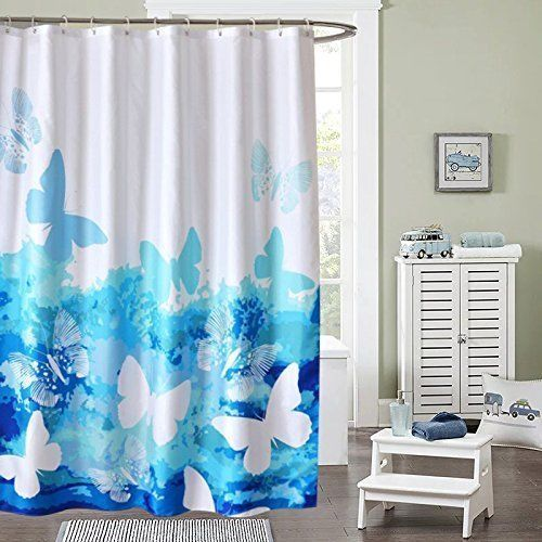 Shower Curtain Butterflies Beautiful Ufriday Fabric Set