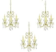 3 Chandelier Distressed Ivory Candleholder Wedding Party Hanging Decor -... - $69.15