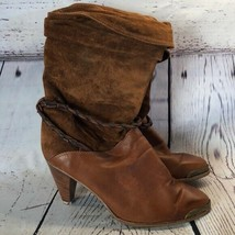 Zodiac vintage brown leather suede slouchy boots Needs Repair - $9.89