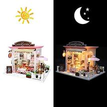 Miniature Dollhouse Kit DIY Dollhouse Wooden Miniature Furniture Kit Mini Pink C image 3
