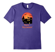 Creepy Old House Spooky Black Cat And Bats Halloween T-Shirt Men - $17.95+