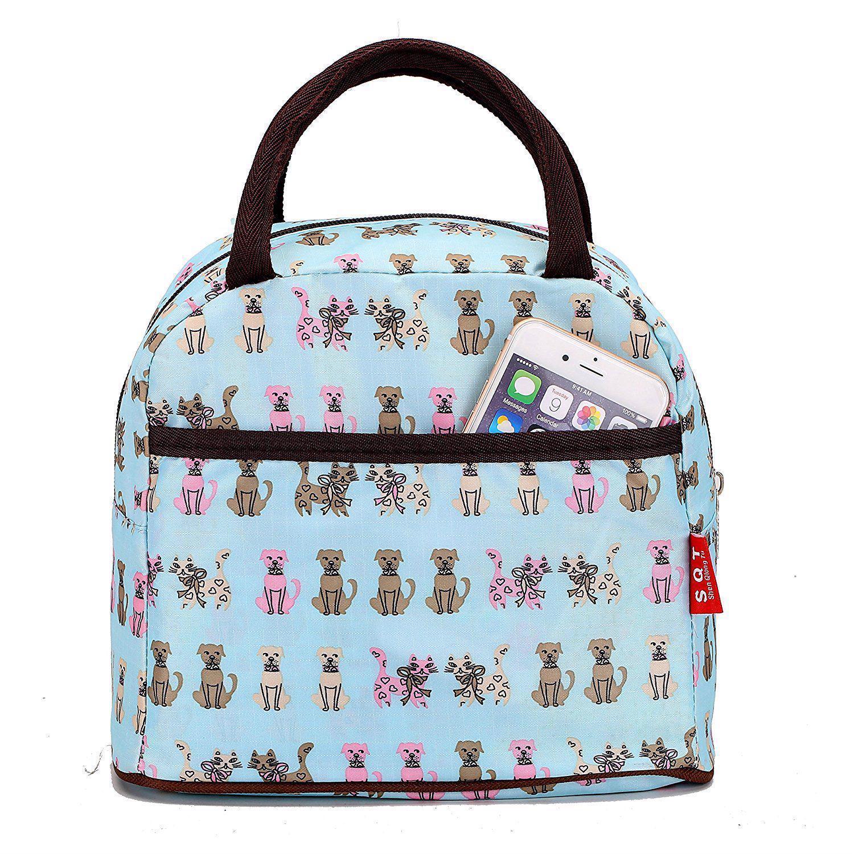 Fashion Zipper Lunch Bag Picnic Box For Women Tote Handbag Pattern Puppy Bag