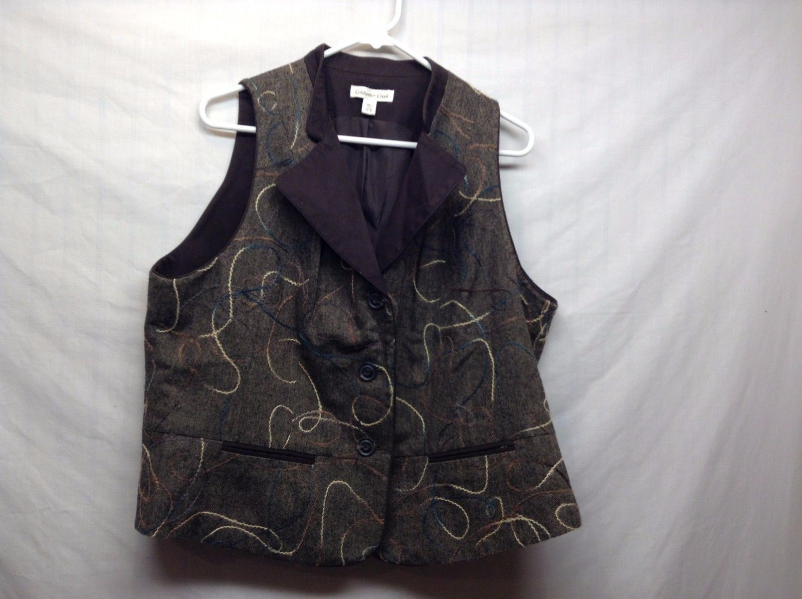 Coldwater Creek Lined Vest Jacket w Pockets Sz W18
