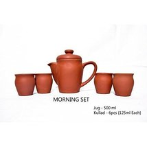 Terracotta Handmade coffee set with 4 khullad cups and 1 covered coffee pot clay - $33.66