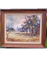 """Landscape with Structures by Lucile Geiser (Oil Painting, 16"""" X 20"""") - $299.95"""