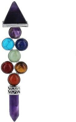Rockcloud 7 Chakra Beads Reiki Pyramid Wand Stick Point For Balancing - $30.40