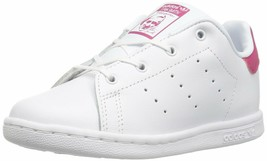 ADIDAS ORIGINALS KIDS' STAN SMITH I SNEAKER WHITE/WHITE/BOLD PINK 10 M US - $49.49