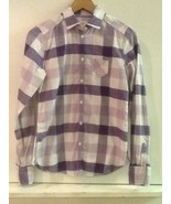 American Eagle Size 4 S Purple White Plaid Shirt Long Sleeve Cotton Butt... - $12.95
