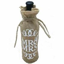 Natural Burlap Wine Bottle Cover Bag With String Closure Letter Print MR... - $173,08 MXN