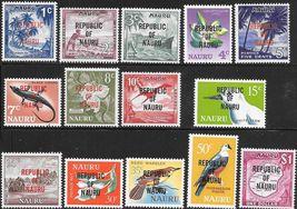 1968 Republic of Nauru Overprints Set of 14 Postage Stamps Catalog 72-85 MNH