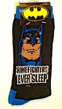 DC COMICS BATMAN CRIMEFIGHTERS NEVER SLEEP MEN'S CREW SOCKS 6-12 2 PAIR NEW - $8.38