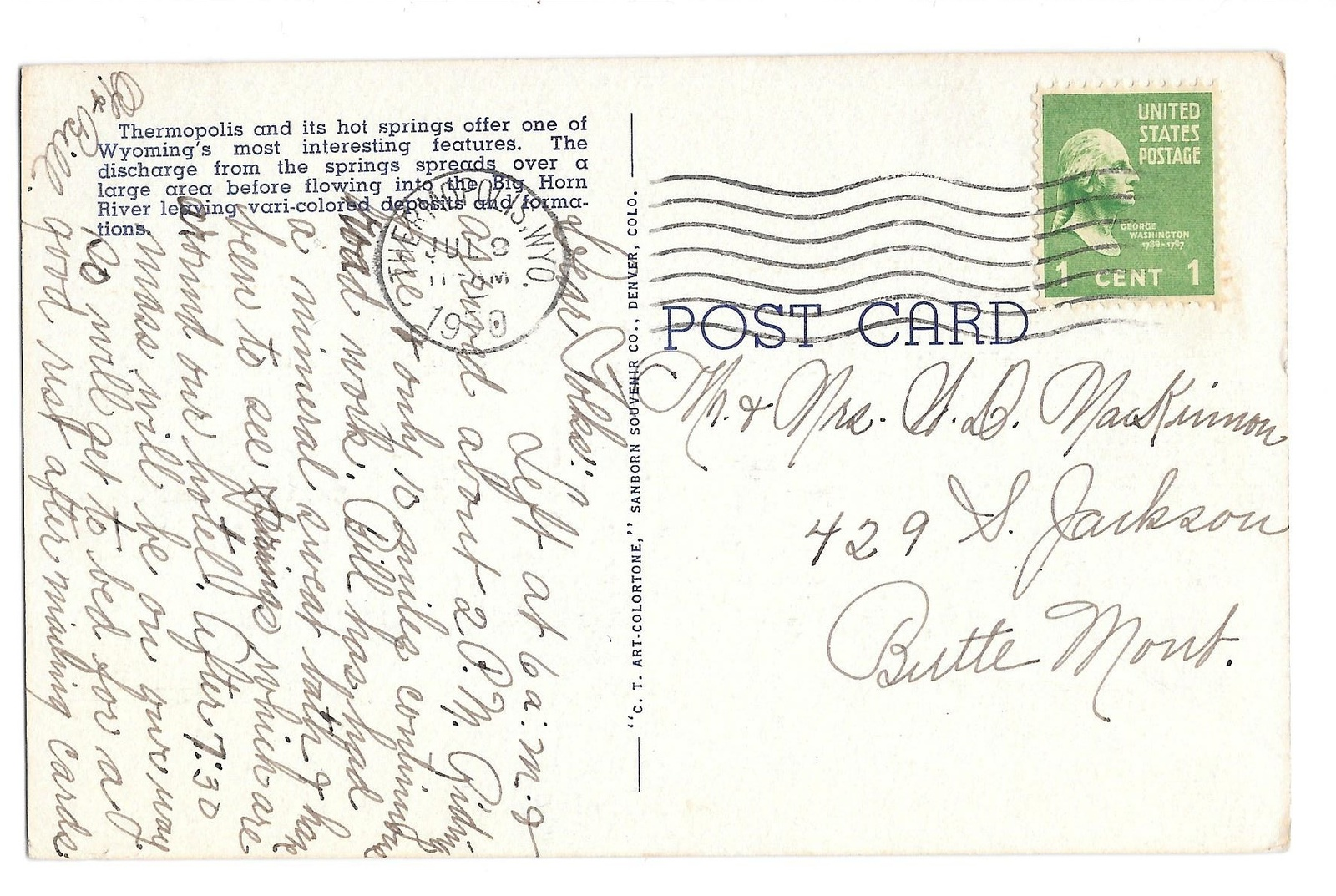 WY Thermopolis Big Horn River Hot Springs Falls Vtg Linen Postcard 1950