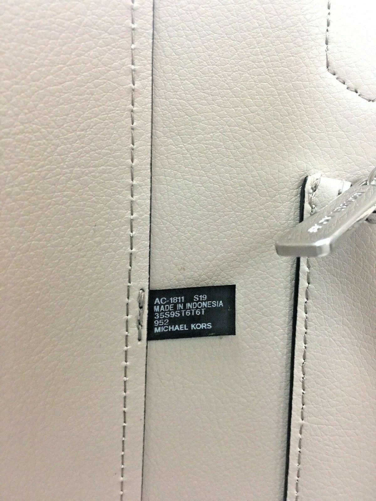 Michael Kors Bag Cassie Tote Medium NS Tote Leather White Gray Black B2R image 11