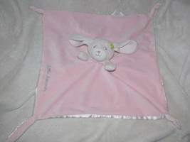Carters Pink Little Dreamer Bunny Plush Blanket Lovey Satin Floral Pink - $79.19