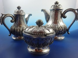 850 Silver Teapot, Sugar Bowl & Creamer Set wit... - $1,950.75
