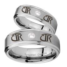 Bride and Groom CTR Step Edges Silver Tungsten Carbide CZ Men's Wedding ... - $79.98