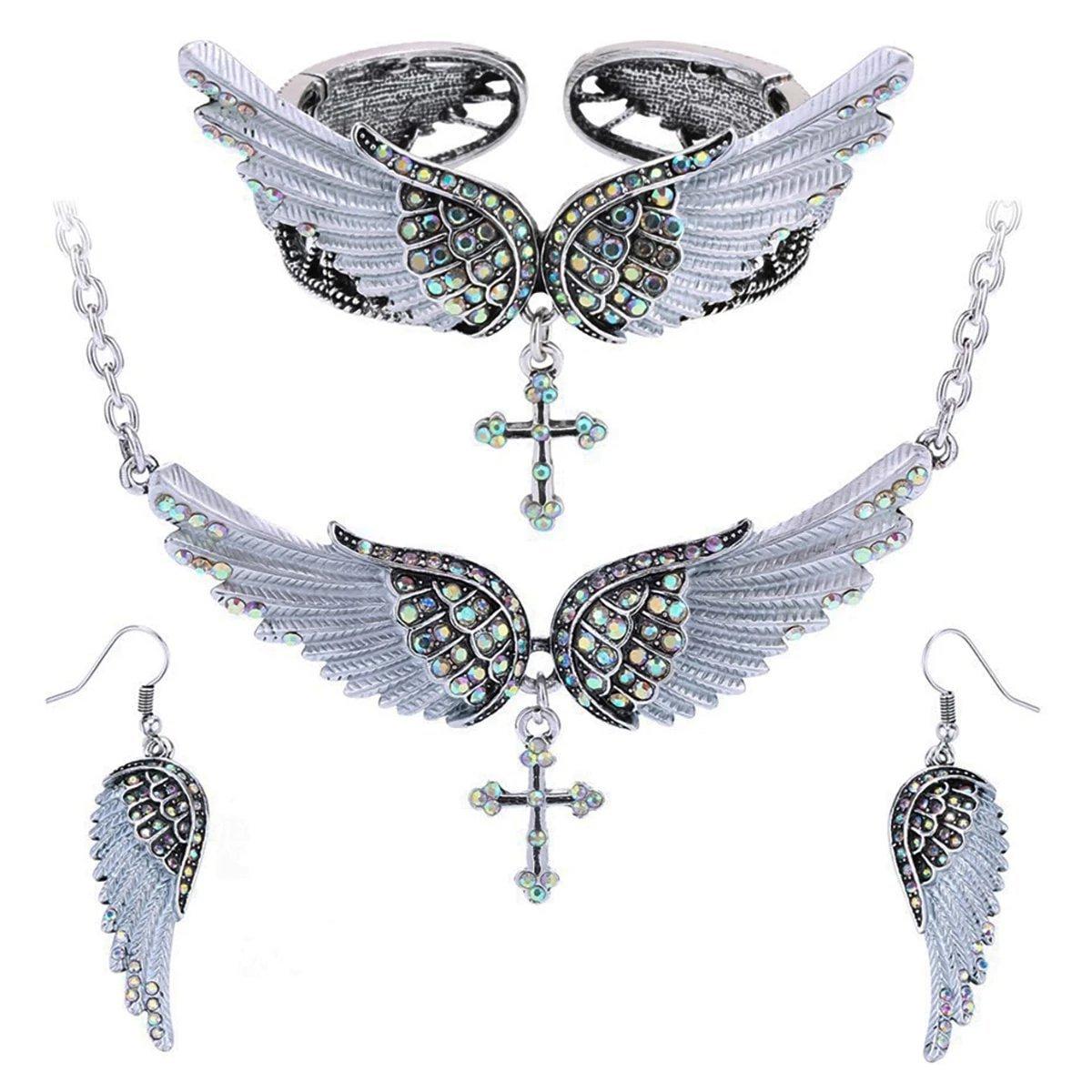 angel wing cross necklace earrings bracelet set women biker jewelry birthday gifts her mom wife