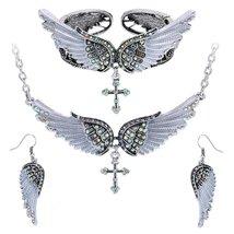 Women's Angel Wing Cross Necklace Earrings Bracelet Set