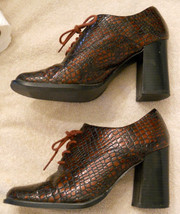 Newport News Chunky High Heel Faux Alligator Oxford Shoes size 8 Moc Cro... - $39.55