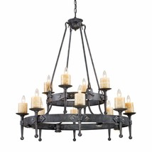Old World Restoration Cambridge Chandelier Forged Iron Genuine Stone Can... - £1,471.89 GBP