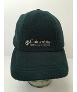 Vintage Columbia Fleece Hat With Ear Flaps Winter USA Made Green Adjustable - $27.57