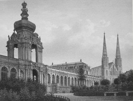 GERMANY Dresden Zwinger - 1860 SCARCE Engraving Print - $42.08