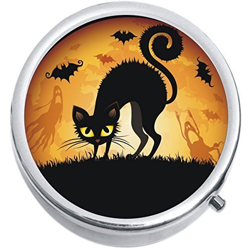 Black Cat Bats Halloween Medicine Vitamin Compact Pill Box
